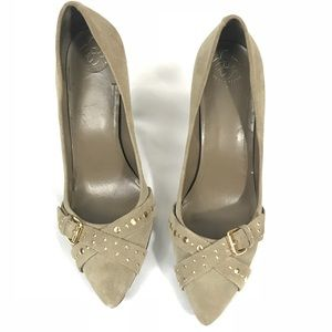 BCBGeneration Kid Suede Gold stud pumps